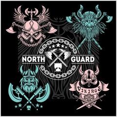 Set of viking emblems, labels and logos.