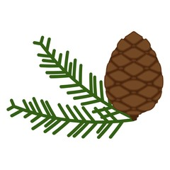 Pinecone icon. A branch of pine from coniferous forests. Element for decoration greeting card for Christmas and the new year.