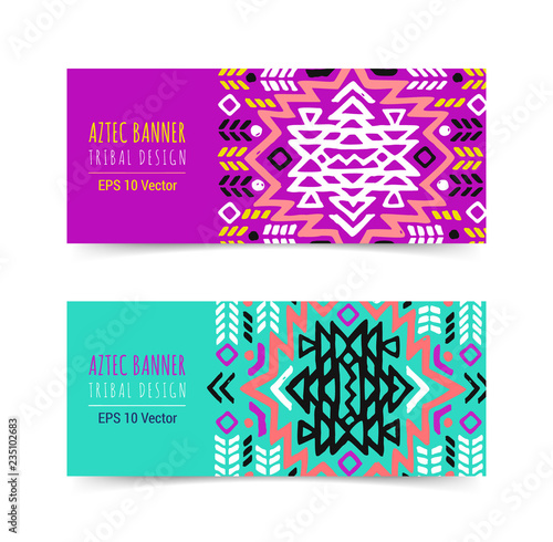 Bright Colorful Horizontal Banner Design Template Set With Tribal Aztec Style Ornament Ethnic Background Collection Eps 10 Vector Website Header Concept
