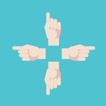 Hand with pointing finger. Vector direction sign