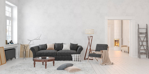 Classic scandinavian white interior with fireplace, sofa, table, lounge chair, floor lamp. 3D render illustration mock up wide picture.