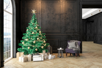 Black interior with christmas tree, armchair, gifts, pillow, wall panels. 3D render illustration mock up.