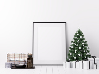 Poster Mockup with Christmas Winter and Boxing Day Decoration