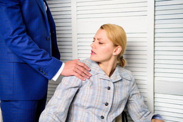 Sexual harassment in business office. Lustful boss touching. Mad at colleague.