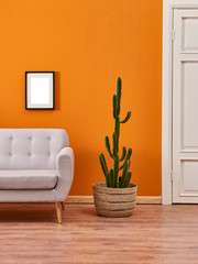 Orange living room, grey sofa wicker cactus and frame.