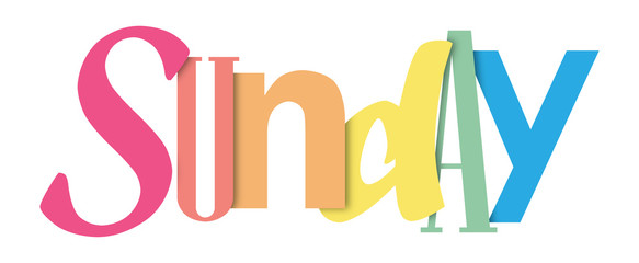 SUNDAY colorful typography banner