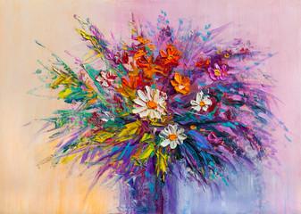 Obraz Oil painting a bouquet of flowers . - fototapety do salonu