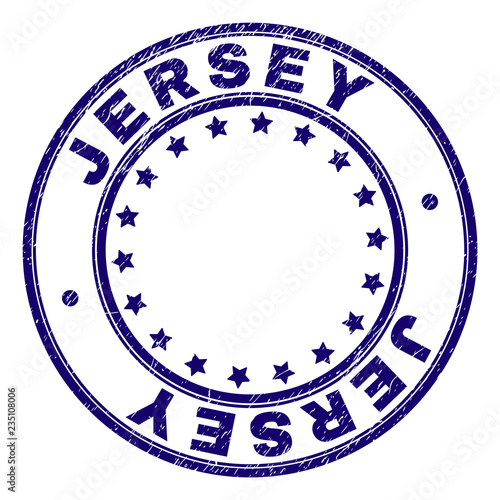 JERSEY stamp seal watermark with distress texture  Designed