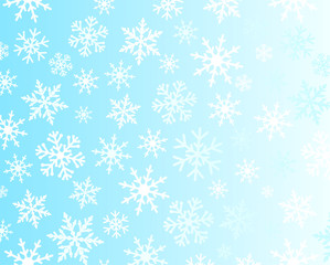 White and blue snowflakes on light background. Snowflake christmas frost on blue background for xmas greeting card or new year banner and for greeting cards or poster