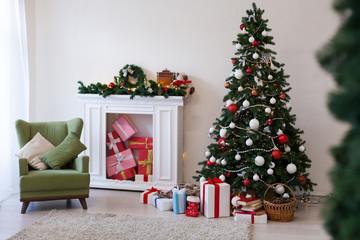 new year Christmas tree winter holiday gifts interior decor postcard
