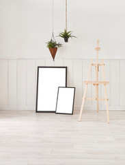 Modern frames wooden picture leg and white room.