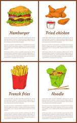 Hamburger and French Fries Set Vector Illustration