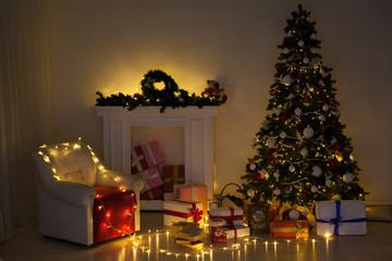 new year Christmas tree winter holiday gifts interior postcard decor winter