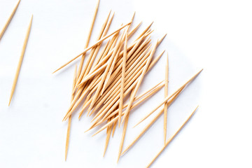 Wooden toothpicks isolated on white background with clipping path.