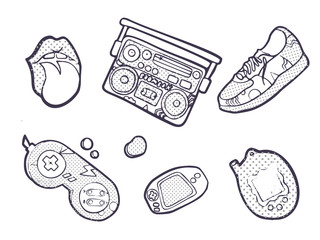 Set of fashion patches, Sneakers, joystick, lips, devices, fun icons vectorin 90s retro concept. Doodle style