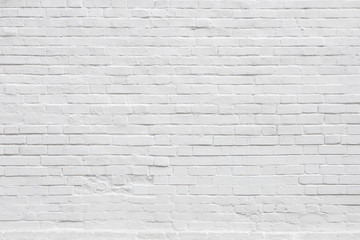White Rustic Texture. Retro Whitewashed Old Brick Wall Surface. Vintage Structure. Grungy Shabby...
