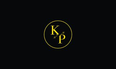 LETTER K AND P FLOWER LOGO WITH CIRCLE FRAME FOR LOGO DESIGN OR ILLUSTRATION USE