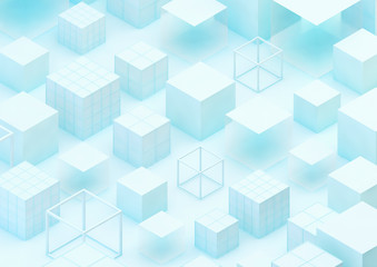 abstract geometric background with white cubes