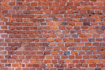 Background or Brickwork Texture Of Old Vintage Dirty Red Or Brown Brick Wall, Texture. Shabby...