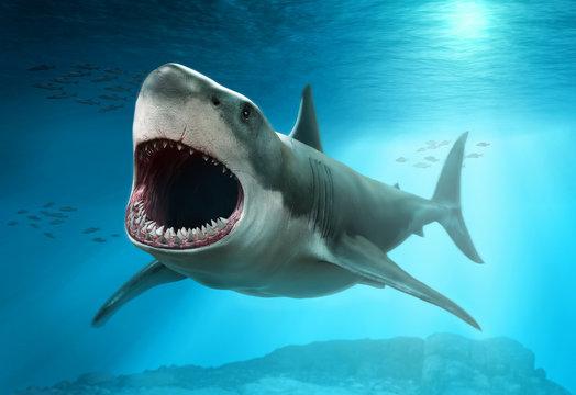 Great white shark scene 3D illustration