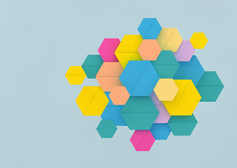 Pattern of multi coloured hexagons