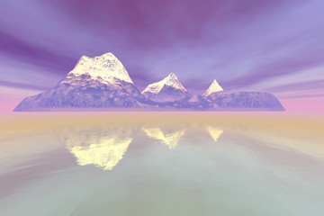 Island, a natural landscape, snowy mountain peaks, fog on the lake and red clouds in the sky.