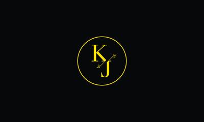 LETTER K AND J FLOWER LOGO WITH CIRCLE FRAME FOR LOGO DESIGN OR ILLUSTRATION USE