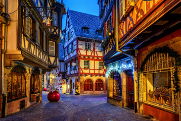 Traditional Christmas decorations and illumination in Colmar Old Town, Alsace, France