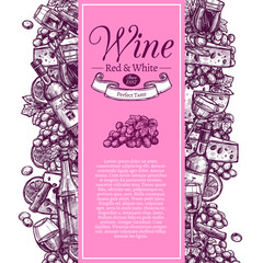 Vertical vintage poster for presentation of wine. Banner invitation for tasting or purchase of red and white wine decorated with set of bottles, wineglasses and snacks in hand drawing engraving style