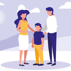 Parents with son in the park design