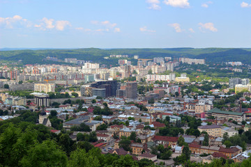 Panorama of Lvov city. Ukraine, Europe. City view, from air