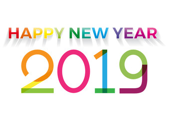 2019 Happy New Year, Background Greetings Card Design Element