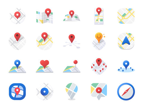Map icon set. Included the icons as location, area, navigation, navigator, direction and more.
