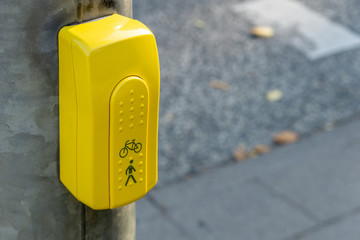 switch or button of pedestrian lights at a crosswalk