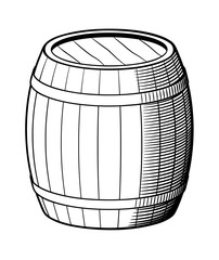 Retro style vector illustration of barrel. Black and white