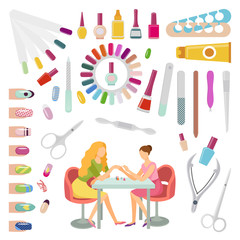 Manicure Manicurist and Tools Nails Set Vector