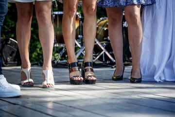 scary sick female legs in heels