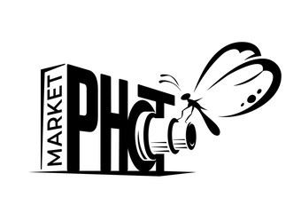 Vector photo market logotype. Camera with butterfly