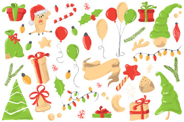 Christmas greetings set with decorative winter elements - garland, pine tree, gift box, baloon, cute pig on white background