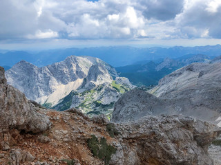 Beautiful view of Alps at path to mountain Triglav in national park in Slovenia.
