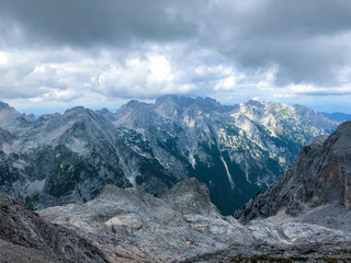 Landscape view from path leading to highest Slovenian mountain Triglav at 2864m.