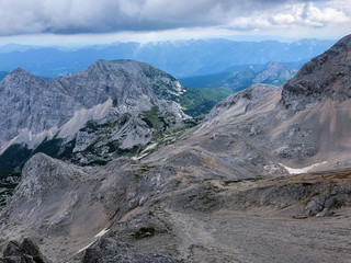 View at valley called Vrata from path to highest mountain Triglav in Slovenia.
