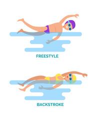 Freestyle Backstroke Swimmers Vector Illustration