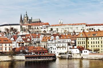 Old Town of Prague and church Saint Vitus in Prague over Vltava river Prague City, gothic Castle above the River Vltava