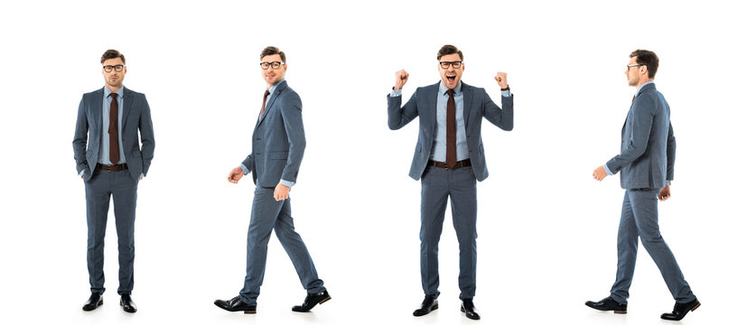 collage of adult businessman in suit walking and standing with different emotions isolated on white