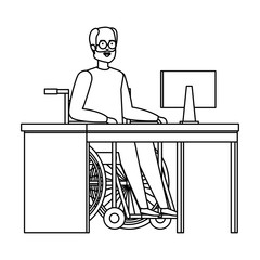 old man in wheelchair in the office