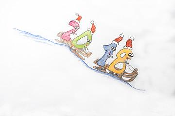 das alte Jahr fährt dahin - lustige Illustration zum Jahresende