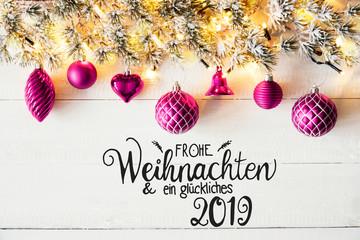 Purple Balls, German Calligraphy Glueckliches 2019 Means Happy 2019