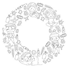 Children medical center. Healthcare illustration. Doodle icons with small kids, infection, fever, cold, virus, illness.