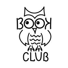 """book club"", handwritten. Funny Owl. Vector illustration,"